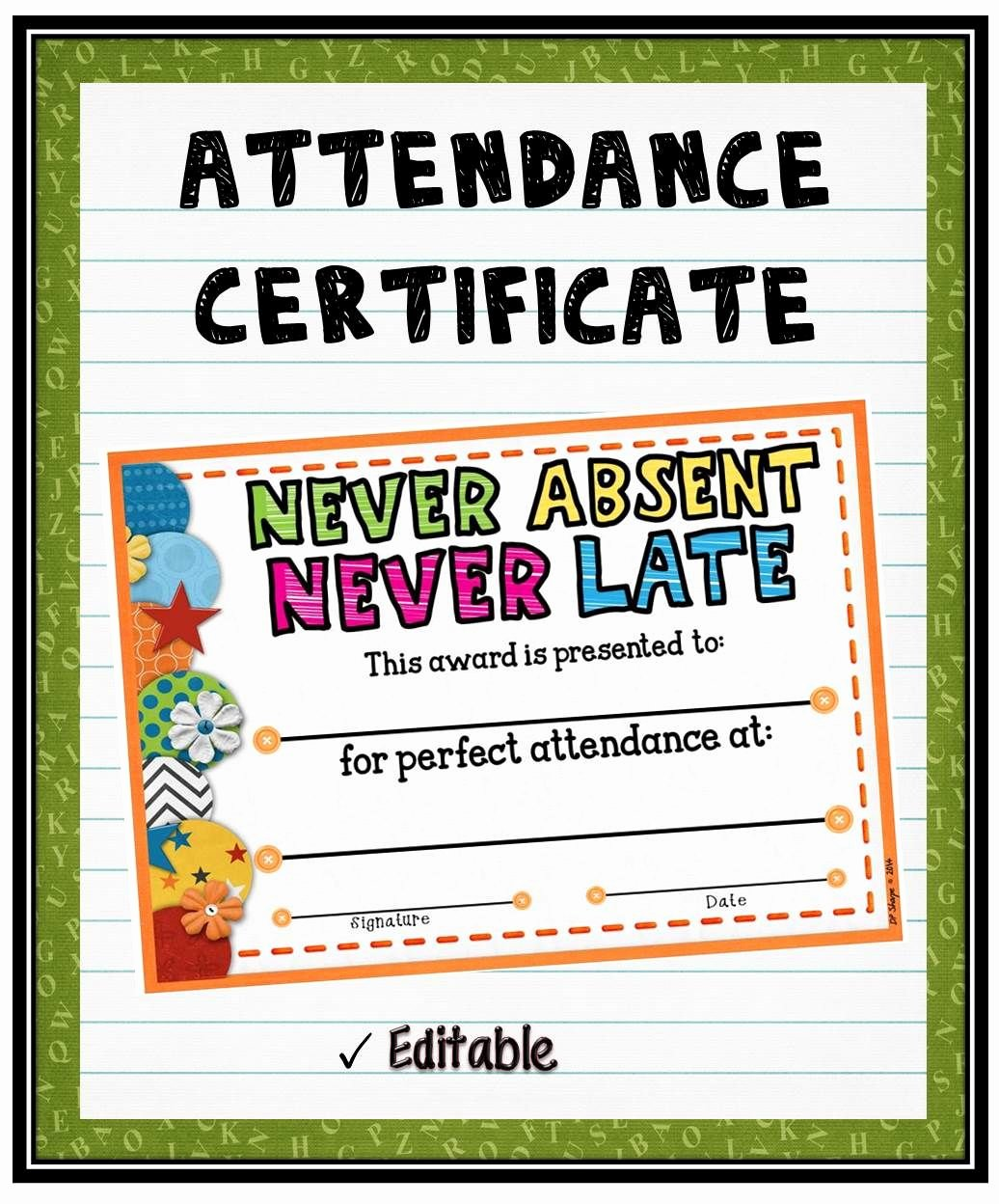 Perfect attendance Award Template New Acknowledge Your Students Perfect attendance by Presenting