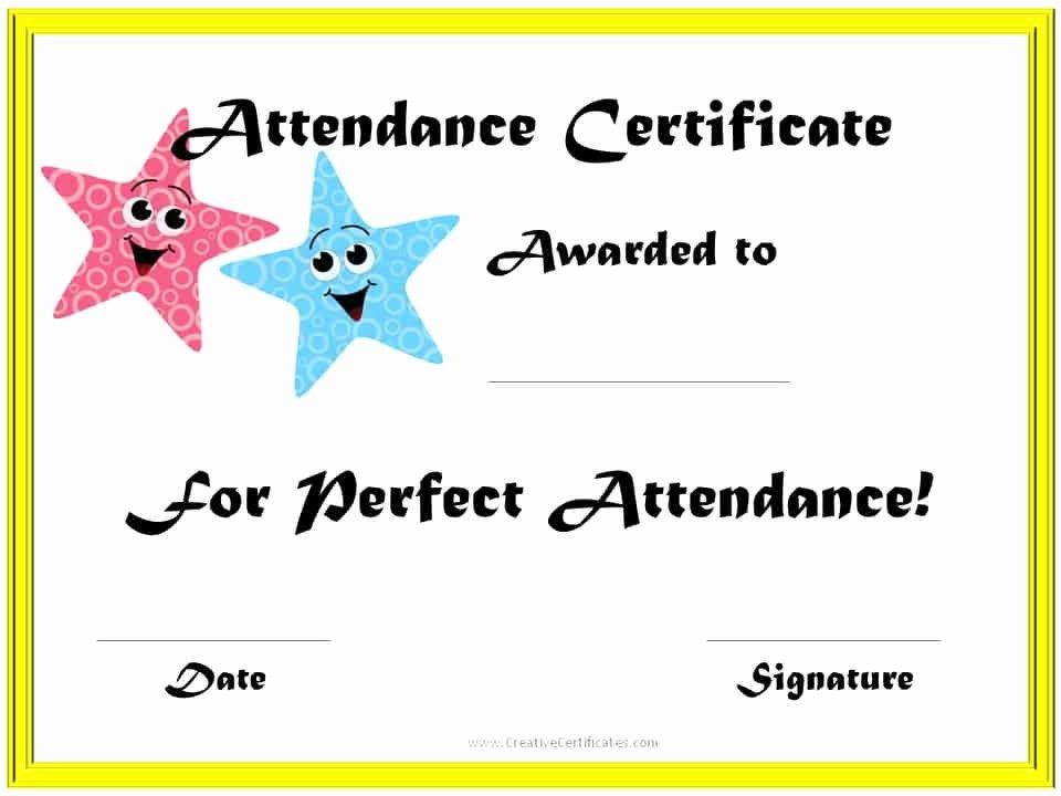 Perfect attendance Award Template New Perfect attendance Award Certificates