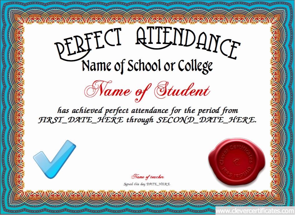 Perfect attendance Award Template New Perfect attendance Certificate Designer School