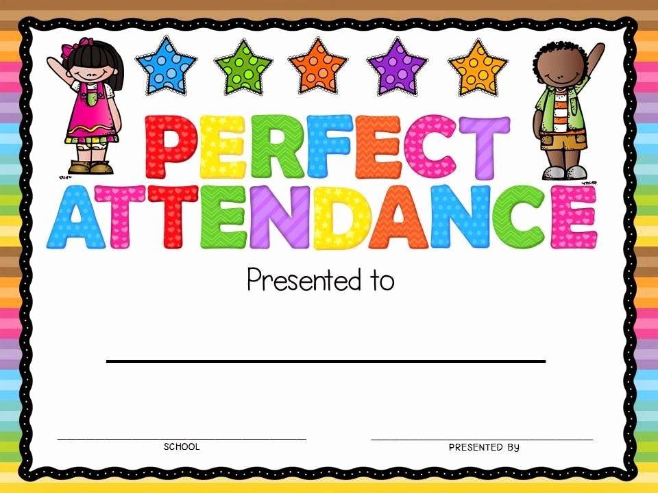 Perfect attendance Award Template Unique Perfect attendance Award