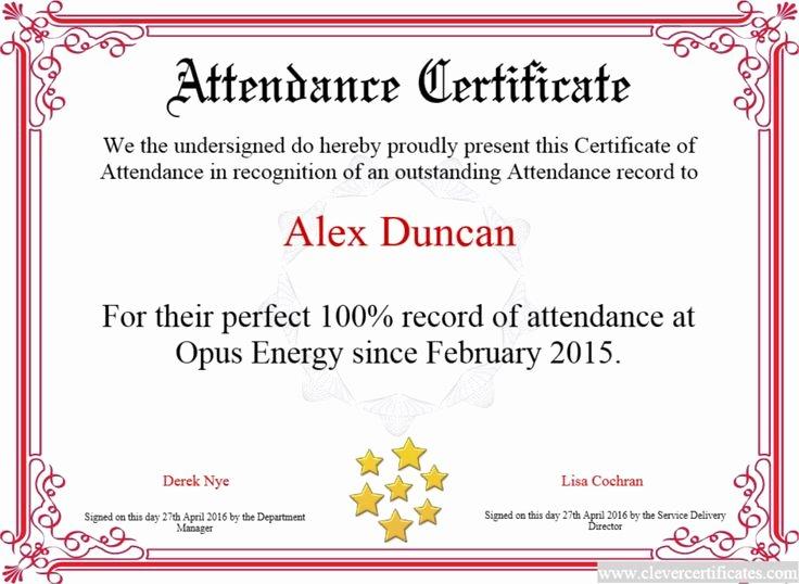 Perfect attendance Award Template Unique Perfect attendance Award Wording 9 Certificates — Rapic