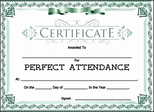 Perfect attendance Certificate Template Awesome attendance Award Certificate Template