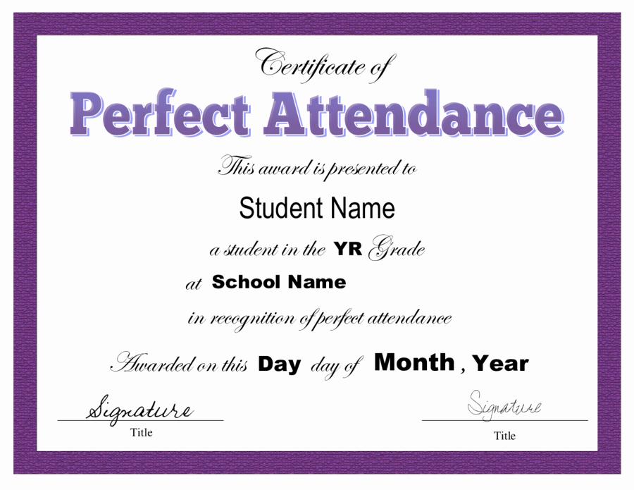 Perfect attendance Certificate Template Best Of 2019 Certificate Of attendance Fillable Printable Pdf