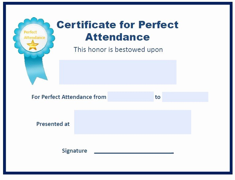 Perfect attendance Certificate Template Elegant Perfect attendance Other Fillable 6 Printable Samples