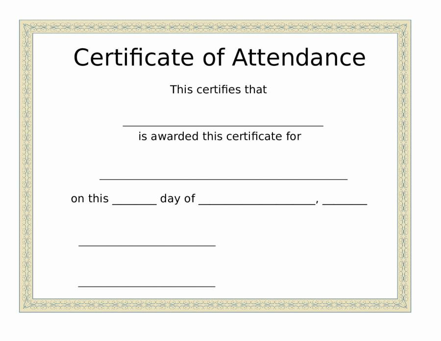 Perfect attendance Certificate Template Fresh 2019 Certificate Of attendance Fillable Printable Pdf