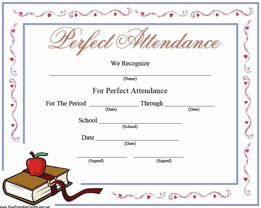 Perfect attendance Certificate Template Inspirational 13 Free Sample Perfect attendance Certificate Templates