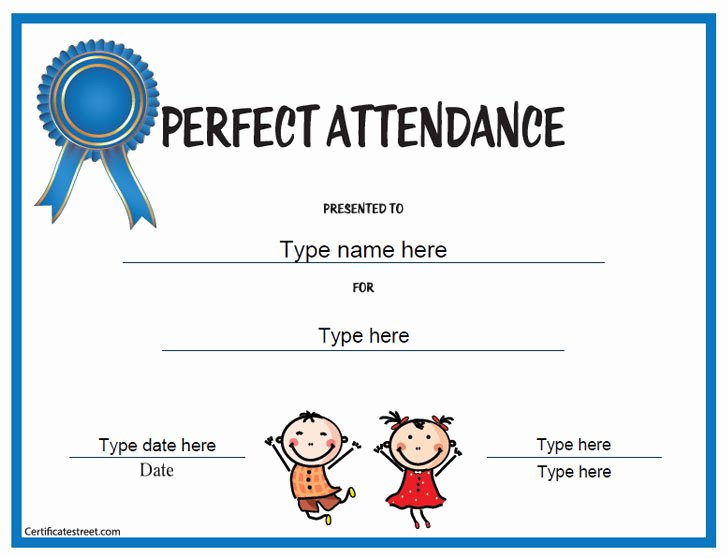 Perfect attendance Certificate Template Inspirational Education Certificates Perfect attendance