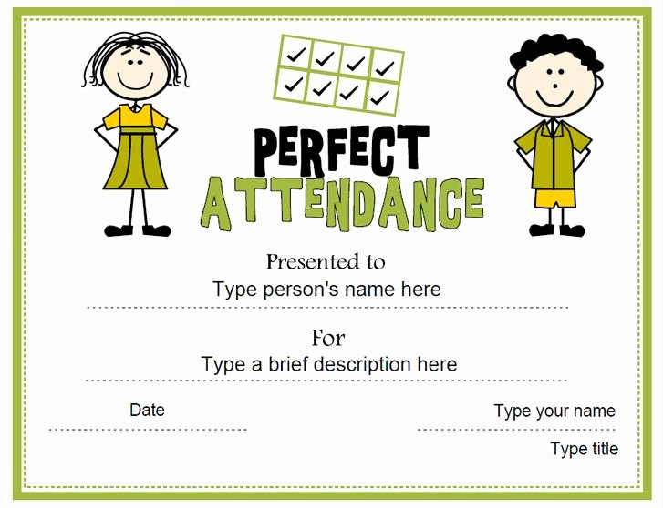 Perfect attendance Certificate Template Lovely Education Certificate Perfect attendance Award