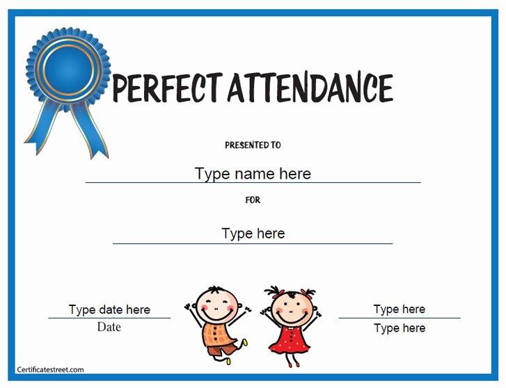 Perfect attendance Certificate Template Luxury Education Certificates Perfect attendance