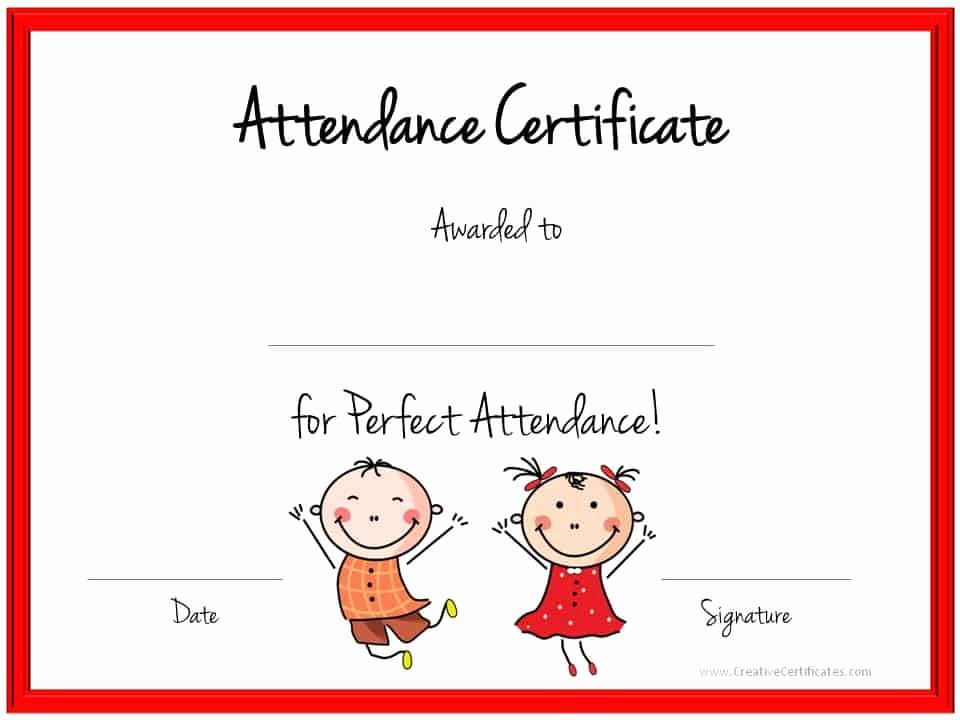 Perfect attendance Certificate Template Luxury Perfect attendance Award Certificates