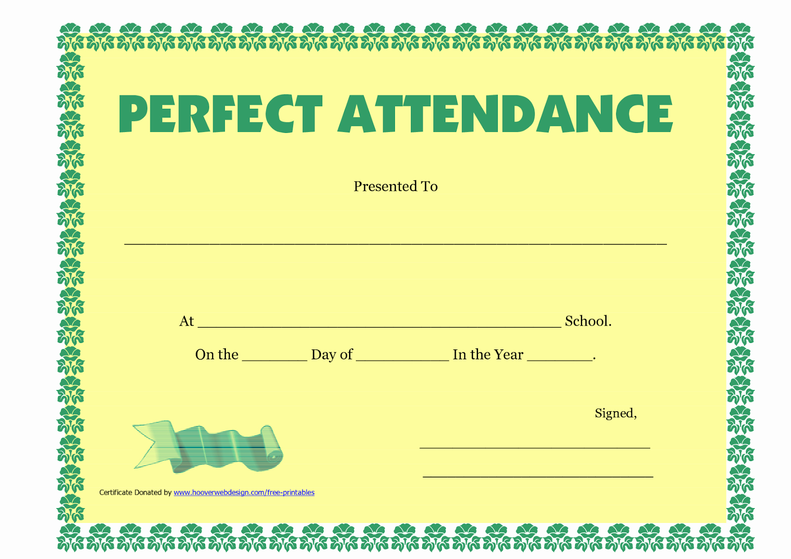 Perfect attendance Certificate Template Luxury Perfect attendance Certificate Printable Free Download