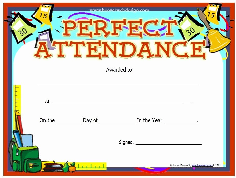 Perfect attendance Certificate Template New 13 Free Sample Perfect attendance Certificate Templates