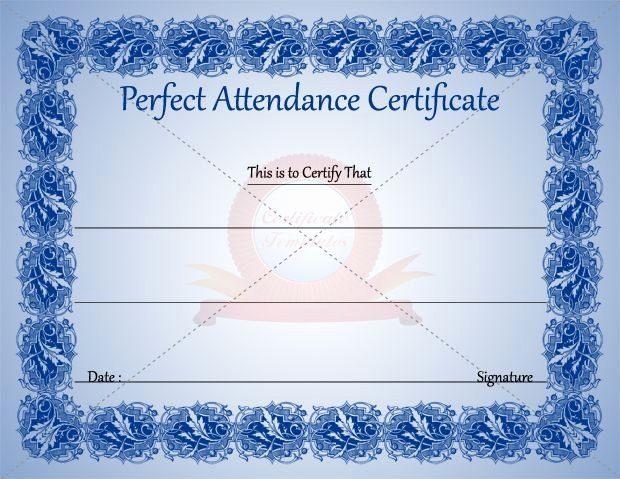 Perfect attendance Certificate Template New Perfect attendance Certificate Template