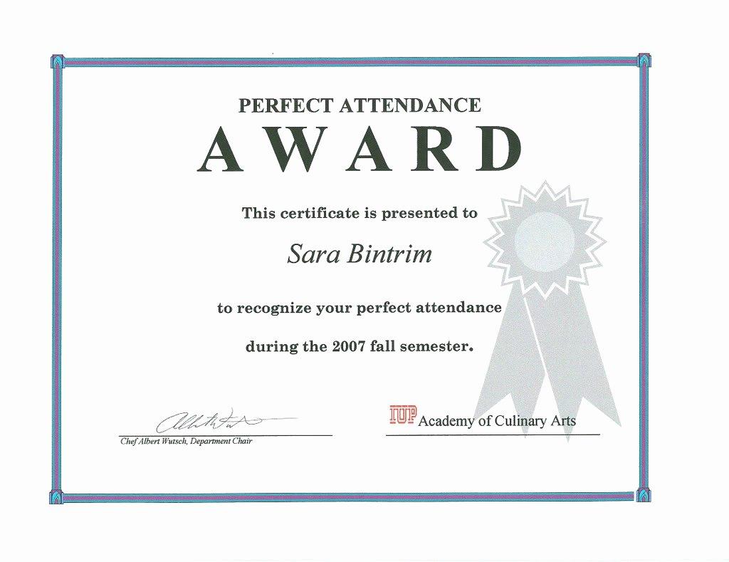 Perfect attendance Certificate Template Unique Congratulation Perfect attendance Quotes Quotesgram
