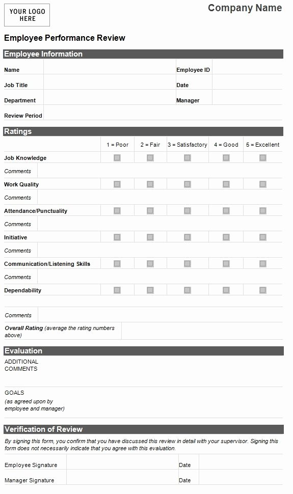 Performance Appraisal form Template Elegant Employee Evaluation Template