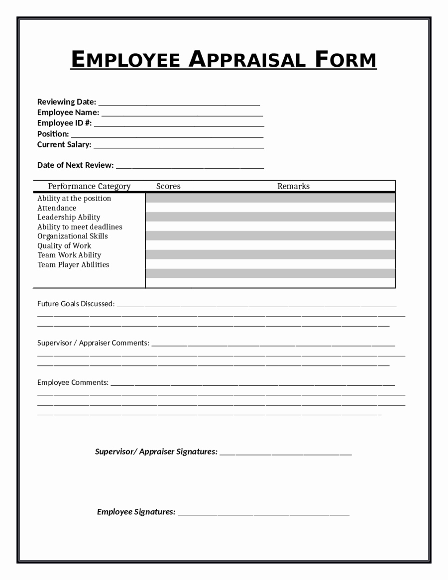 Performance Appraisal form Template Lovely 2019 Employee Evaluation form Fillable Printable Pdf