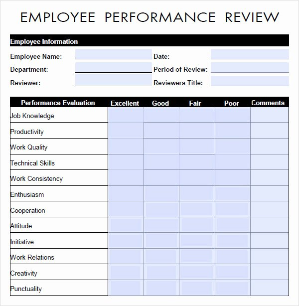 Performance Appraisal form Template Unique 10 Sample Performance Evaluation Templates to Download