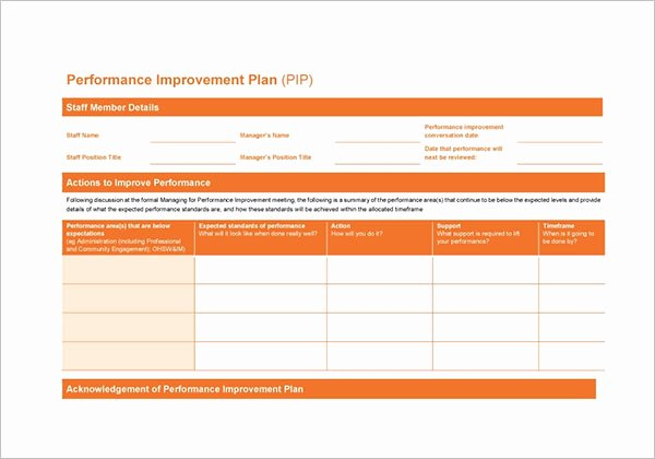Performance Development Plan Template Awesome 42 Performance Improvement Plan Templates Free Word Xls