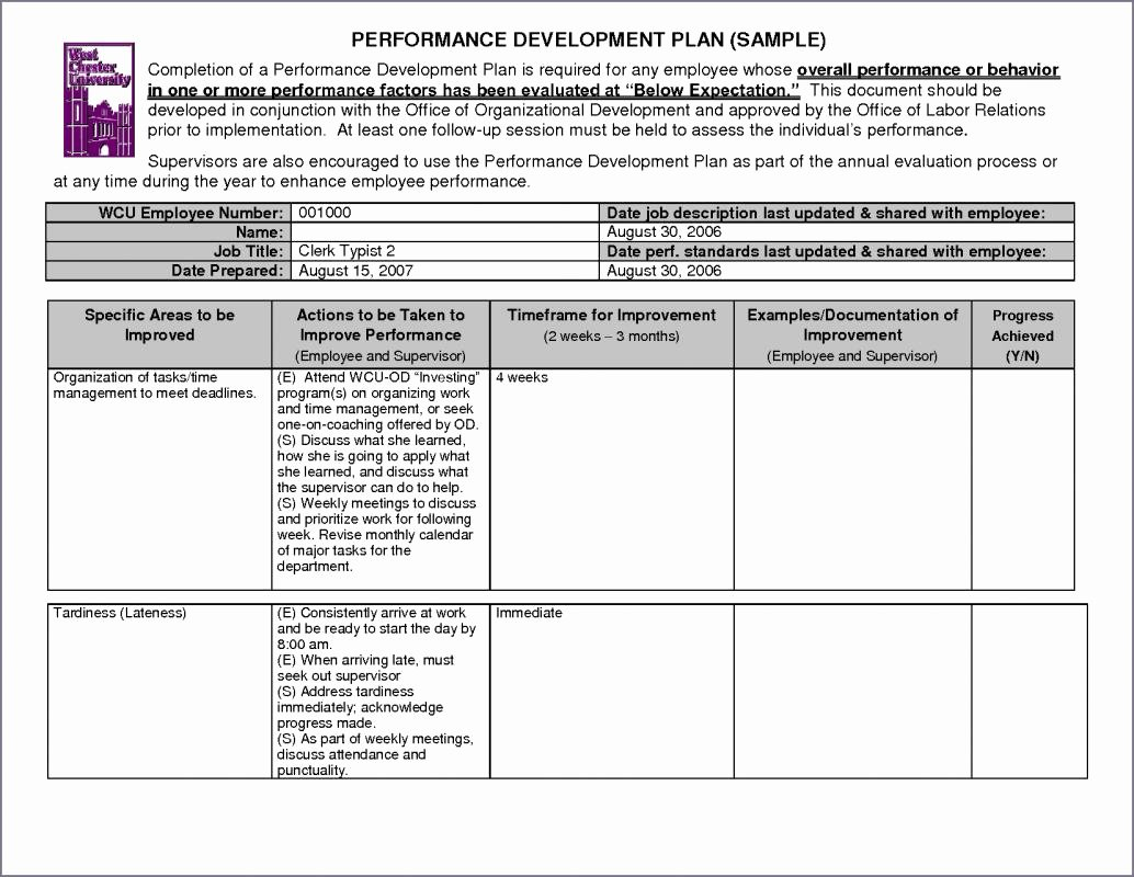 Performance Development Plan Template Fresh Performance Improvement Plan Examples
