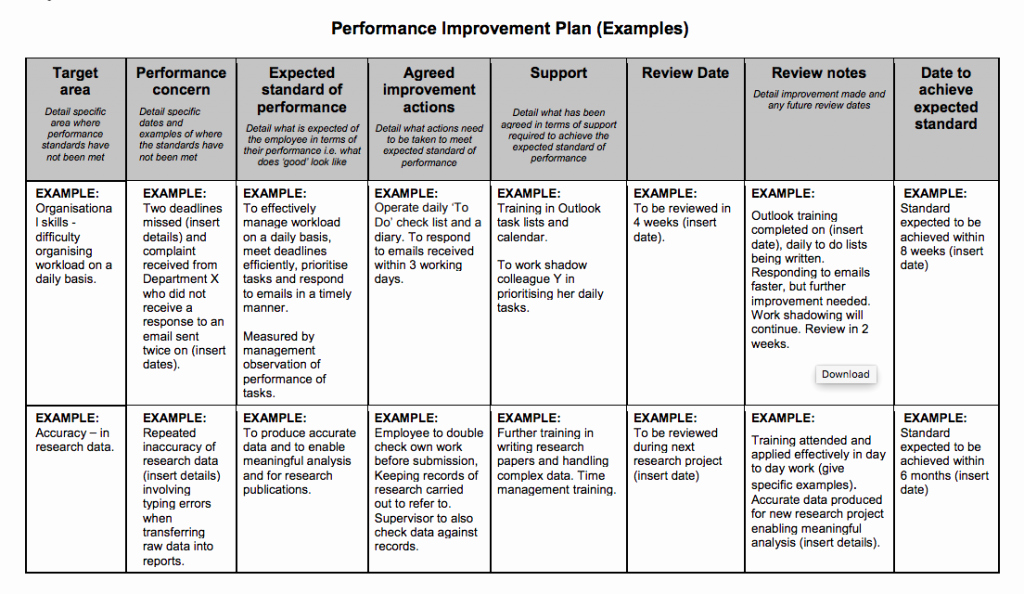 Performance Improvement Plan Template Best Of Examples Performance Improvement Plans for Employees