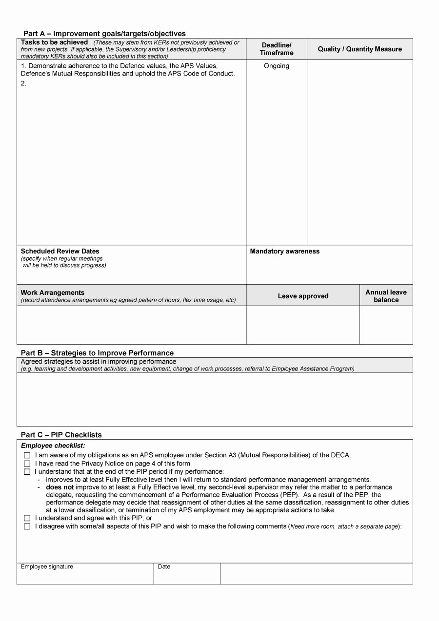 Performance Improvement Plan Template Fresh 41 Free Performance Improvement Plan Templates & Examples