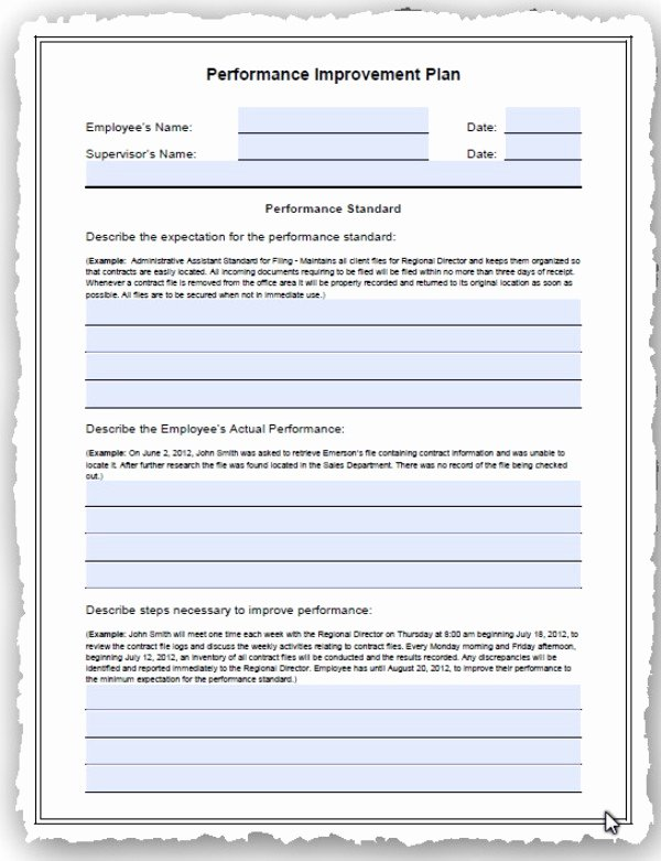 Performance Improvement Plan Template New Employee Performance Improvement and Development Action