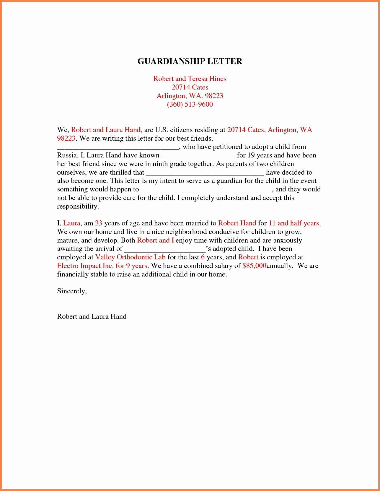 Permanent Guardianship Letter Template Awesome Template for Temporary Guardianship Letter Examples