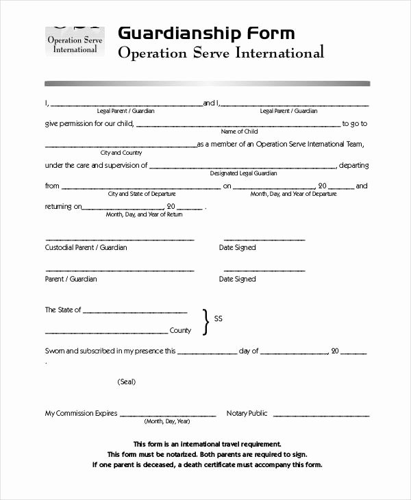 Permanent Guardianship Letter Template Beautiful Guardianship forms 9 Free Pdf Word
