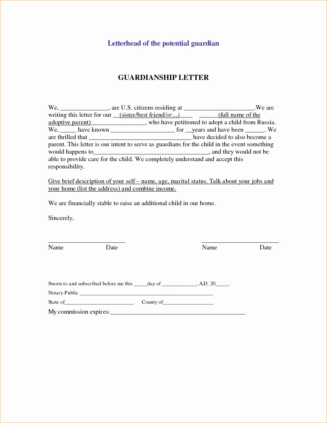 Permanent Guardianship Letter Template Lovely Permanent Guardianship Letter Template Collection