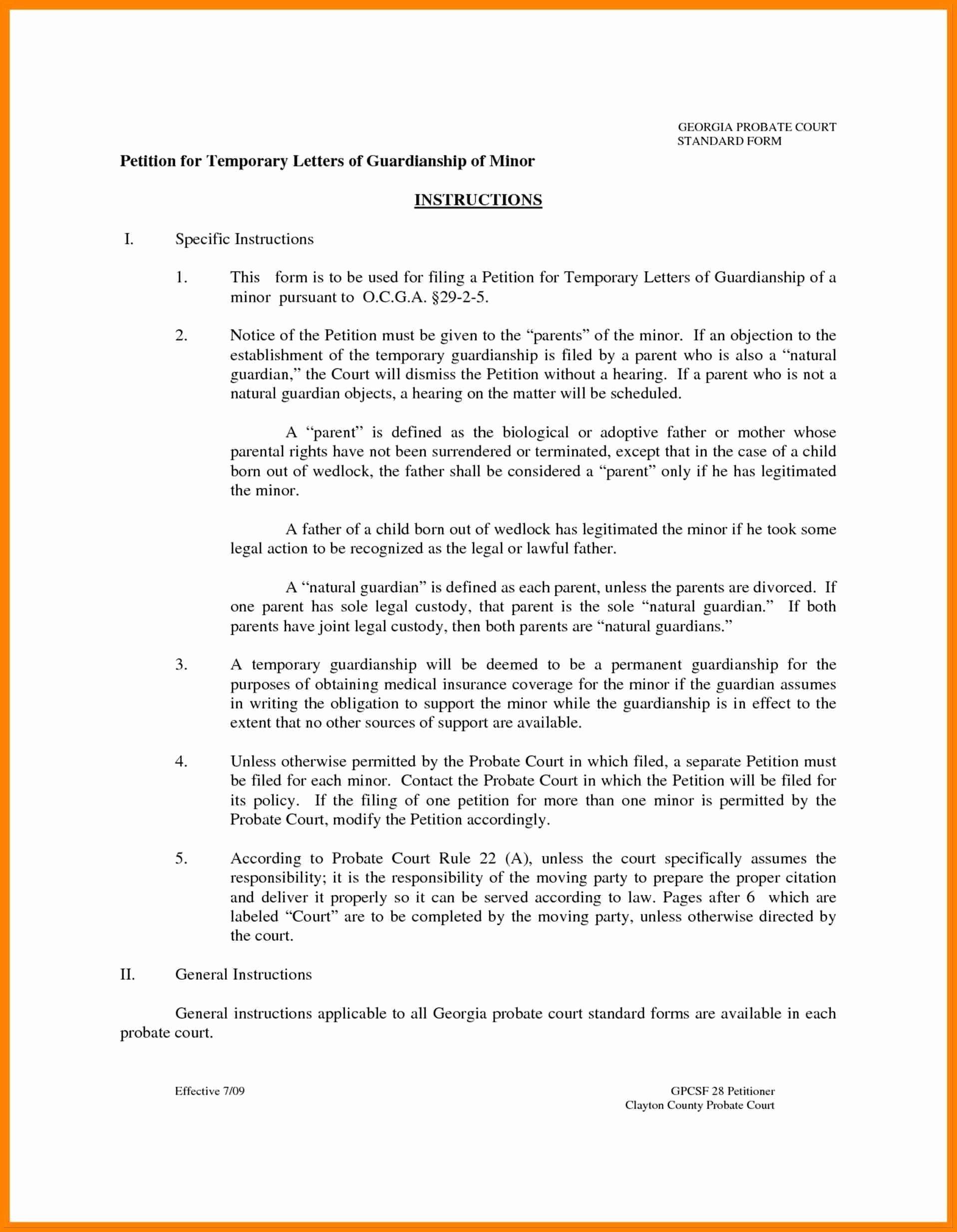 Permanent Guardianship Letter Template Luxury Permanent Guardianship Letter Template Collection