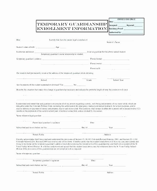 Permanent Guardianship Letter Template Unique Temporary Custody Letter Template