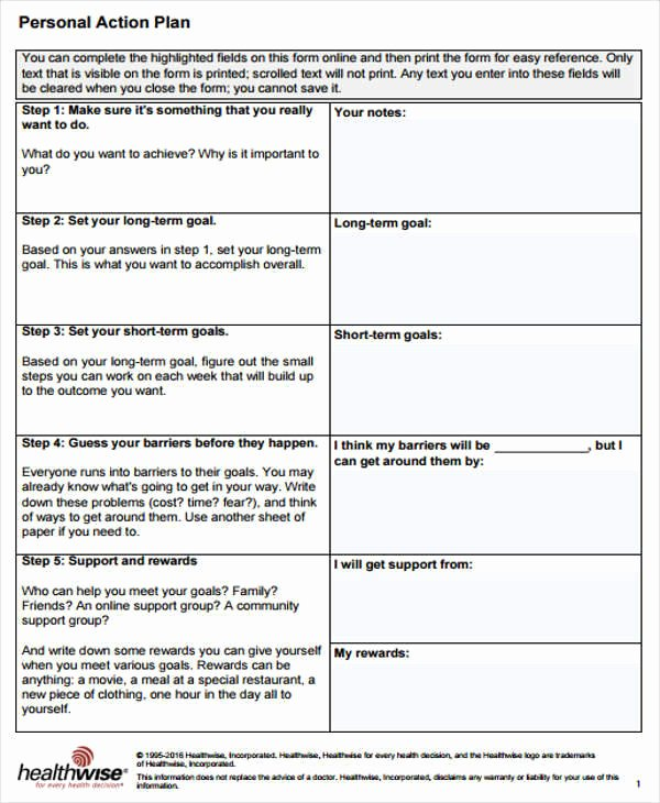 Personal Action Plan Template New 40 Plan Templates & Examples