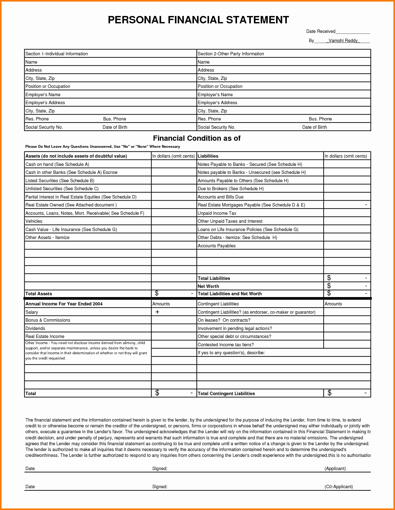 Personal Financial Statements Template Beautiful 13 Personal Financial Statement form Free