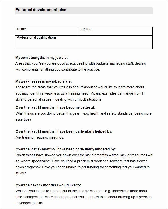 Personal Growth Plan Template Lovely Sample Personal Development Plan Template 10 Free