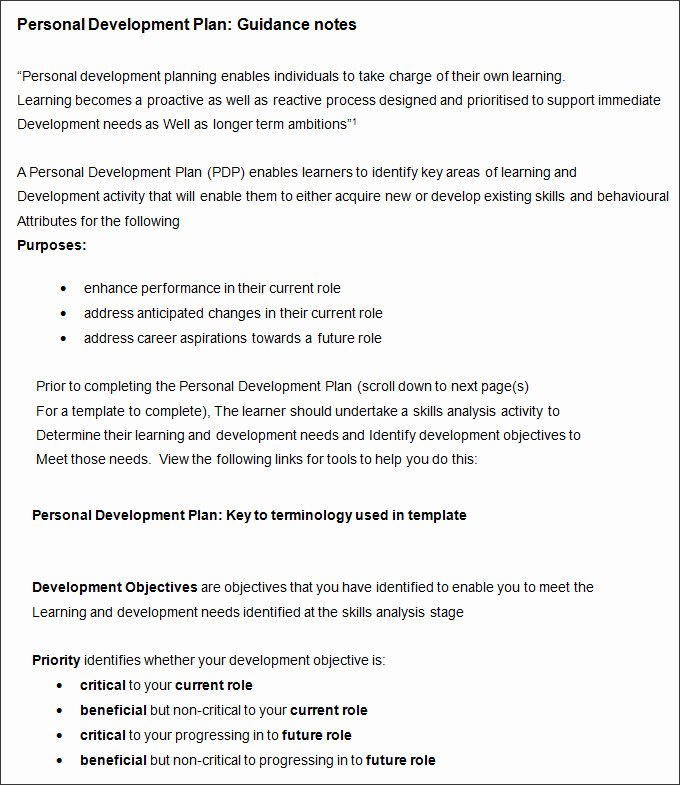 Personal Growth Plan Template Luxury Sample Personal Development Plan Template 10 Free