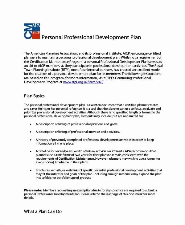 Personal Growth Plan Template Unique 3 4 Sample Professional Development Plans