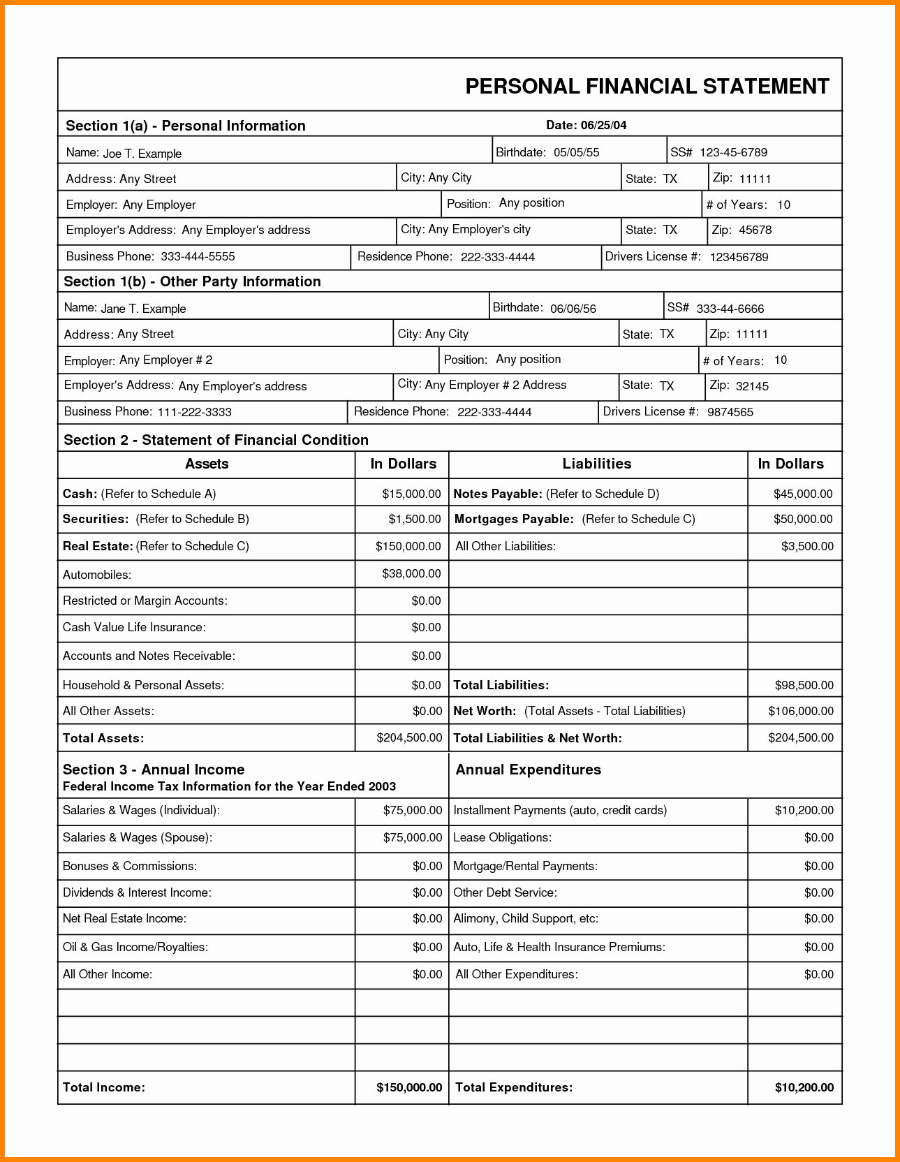 Personal Income Statement Template Awesome 6 Template for Personal Financial Statement
