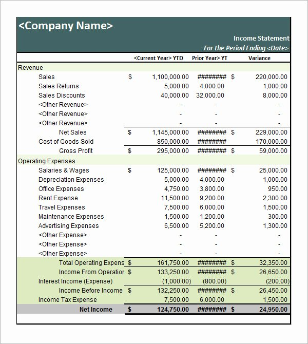 Personal Income Statement Template Inspirational 17 Free Sample In E Statement Templates