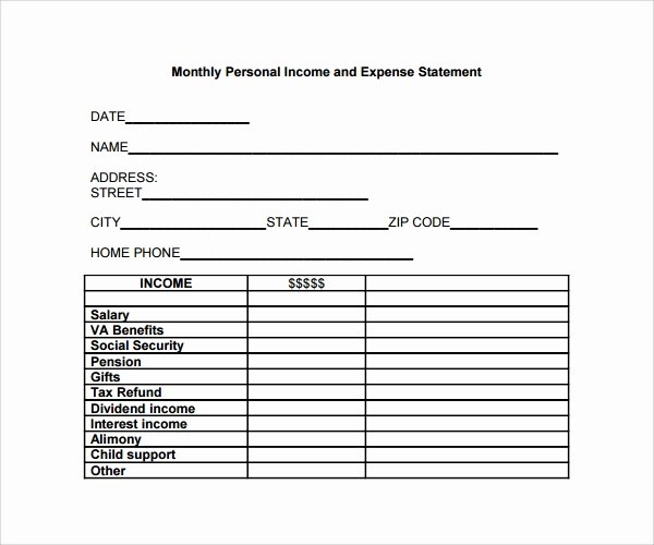 Personal Income Statement Template New 10 Expense Statement Templates to Download