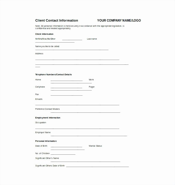 Personal Info forms Template Best Of Basic Personal Information form Fact Sheet Template