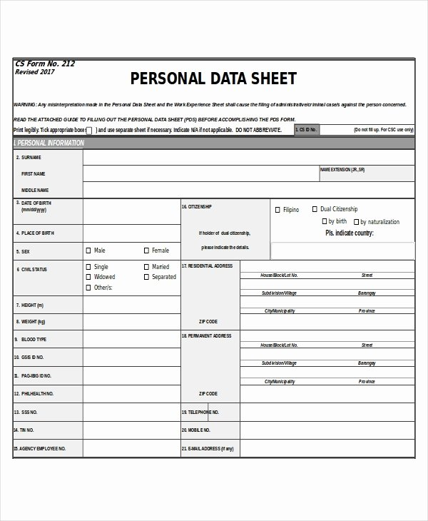Personal Info forms Template Elegant 27 Sheet Templates In Excel