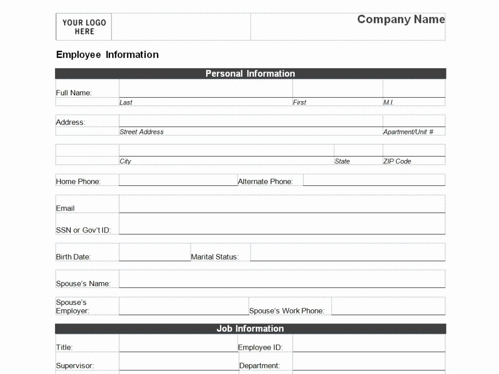 Personal Info forms Template Fresh Employee Personal Information form Template