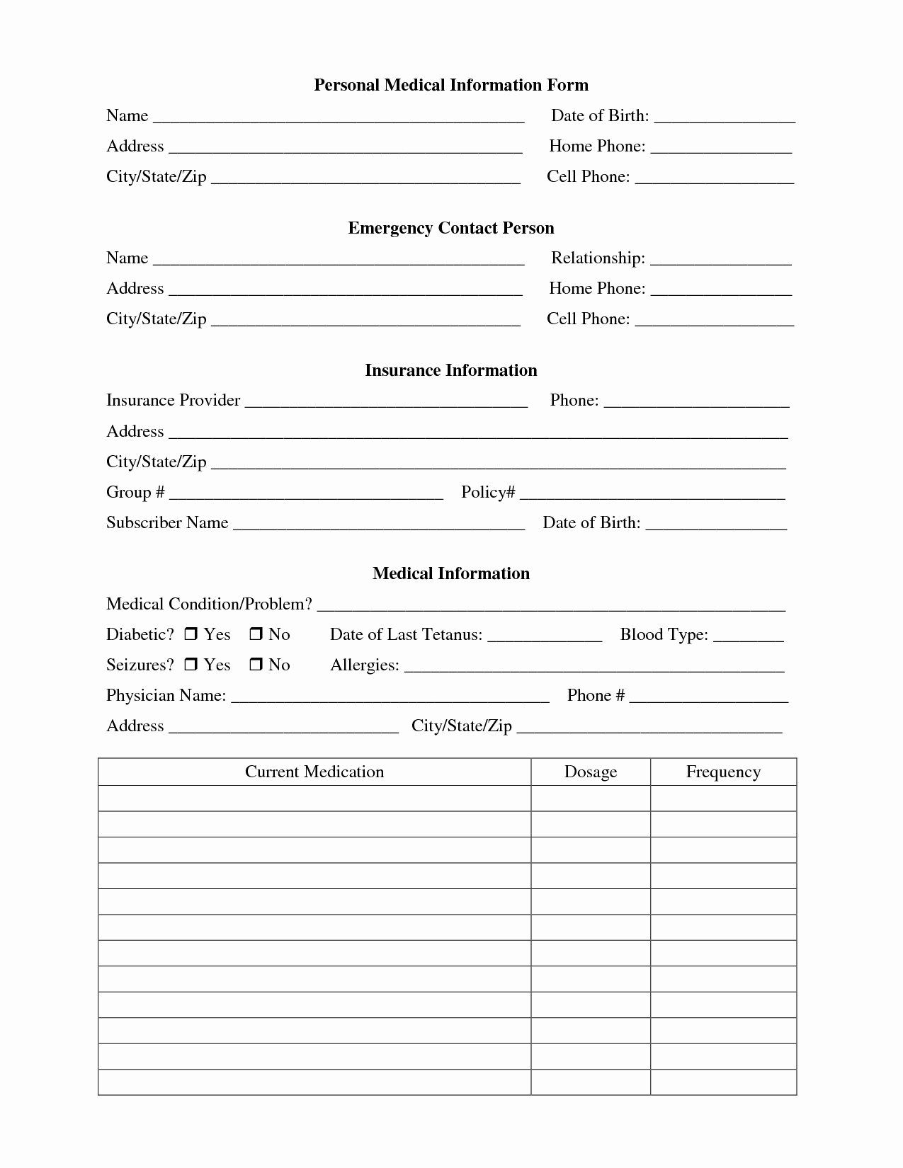 Personal Info forms Template Lovely Best S Of Printable Personal Contact Template