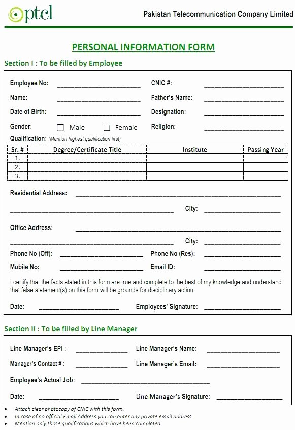 Personal Info forms Template New Basic Personal Information form Fact Sheet Template