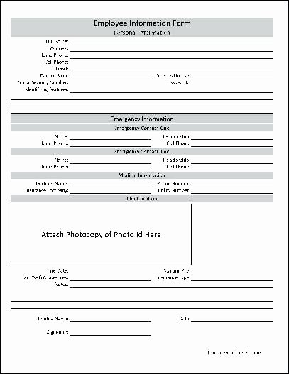 Personal Info forms Template Unique Basic Personal Information form Fact Sheet Template
