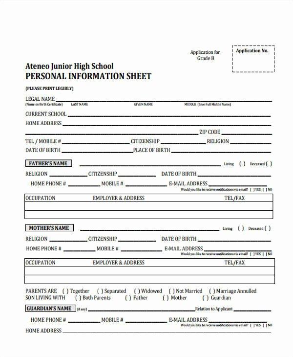 Personal Information form Template Elegant 12 Information Sheet Samples & Templates