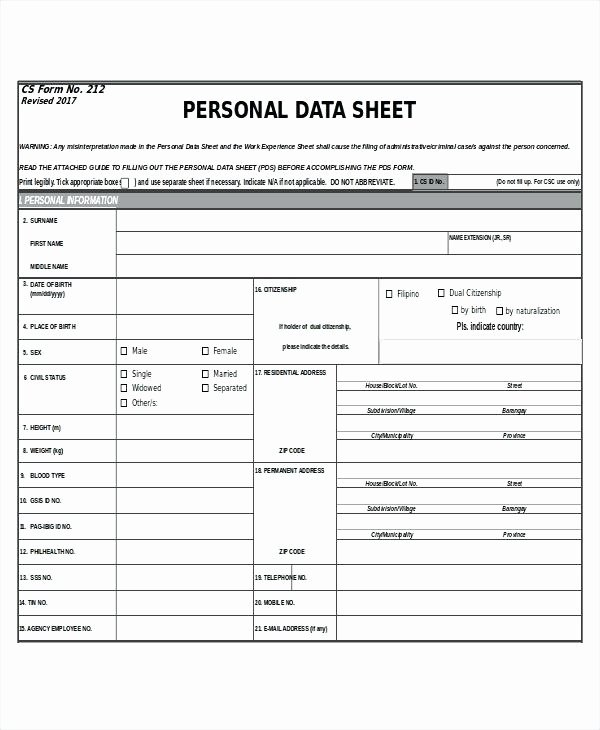 Personal Information form Template Inspirational New Hire form Template Rent Type Employee Personal Data