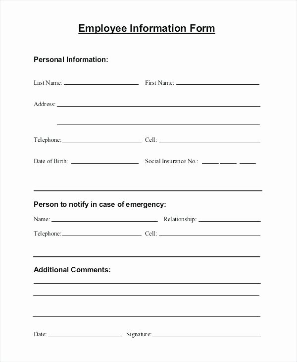 Personal Information form Template Inspirational Personal Information form Template Employee Business