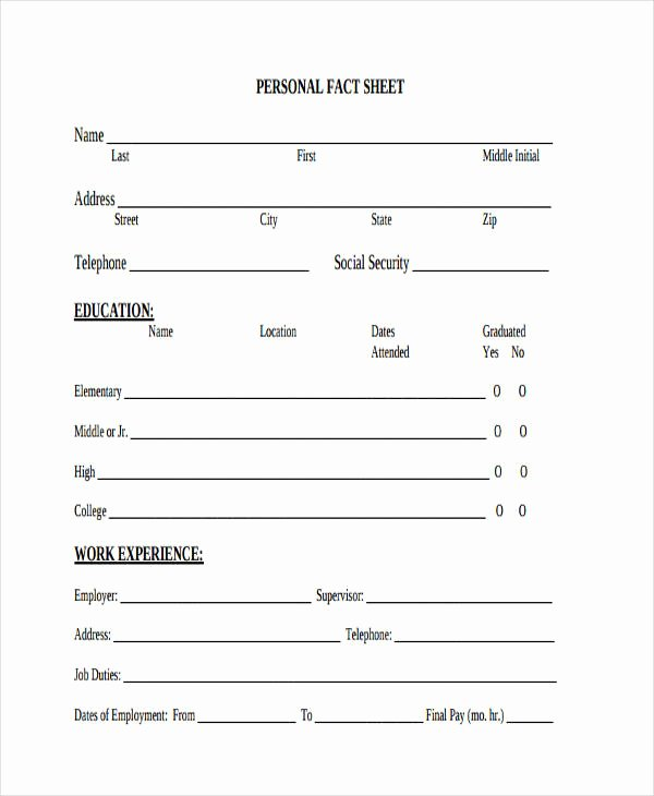 Personal Information Sheet Template Awesome 28 Fact Sheet formats