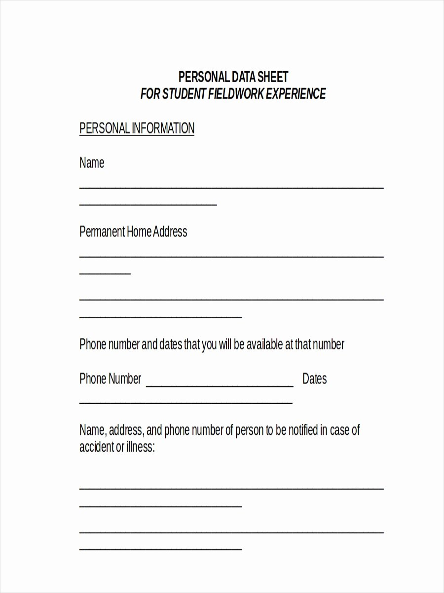 Personal Information Sheet Template Best Of Basic Personal Information form Template to Pin